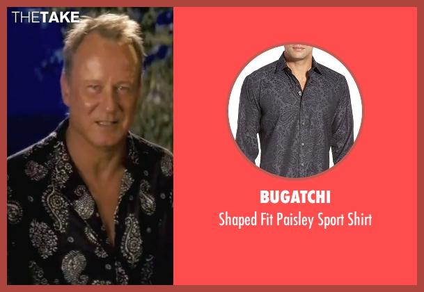 Bugatchi black shirt from Mamma Mia! seen with Stellan Skarsgård (Bill)
