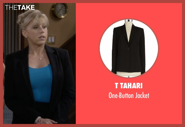 T Tahari black jacket from Fuller House seen with Stephanie Tanner (Jodie Sweetin)