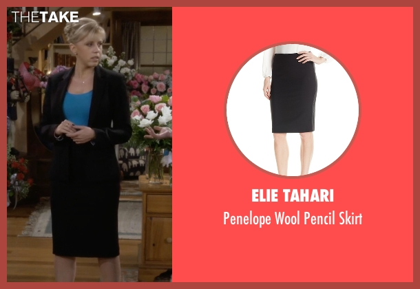 Elie Tahari black skirt from Fuller House seen with Stephanie Tanner (Jodie Sweetin)