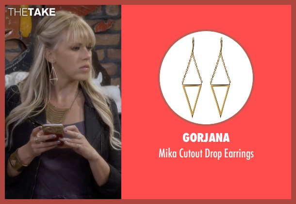 Gorjana gold earrings from Fuller House seen with Stephanie Tanner (Jodie Sweetin)