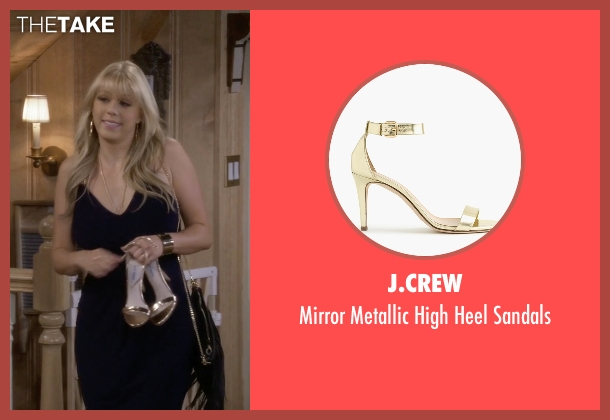 J.Crew gold sandals from Fuller House seen with Stephanie Tanner (Jodie Sweetin)