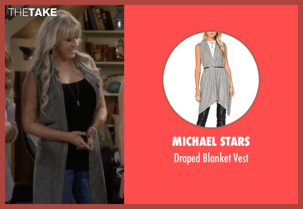 Free People gray vest from Fuller House seen with Stephanie Tanner (Jodie Sweetin)