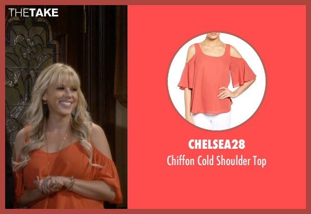 Chelsea28 orange top from Fuller House seen with Stephanie Tanner (Jodie Sweetin)