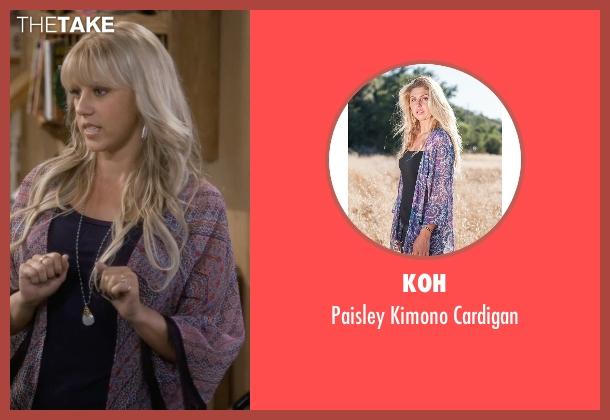 Koh purple cardigan from Fuller House seen with Stephanie Tanner (Jodie Sweetin)