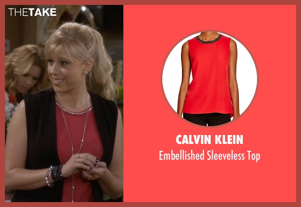 Calvin Klein red top from Fuller House seen with Stephanie Tanner (Jodie Sweetin)