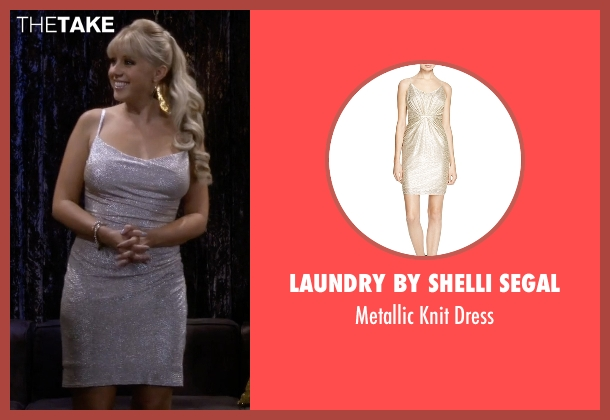 Laundry by Shelli Segal silver dress from Fuller House seen with Stephanie Tanner (Jodie Sweetin)