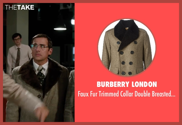 Burberry London beige coat from Anchorman 2: The Legend Continues seen with Steve Carell (Brick Tamland)