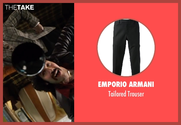 Emporio Armani black trouser from Anchorman 2: The Legend Continues seen with Steve Carell (Brick Tamland)
