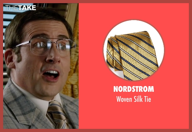 Nordstrom gold tie from Anchorman 2: The Legend Continues seen with Steve Carell (Brick Tamland)