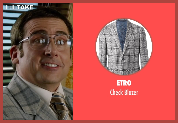 Etro gray blazer from Anchorman 2: The Legend Continues seen with Steve Carell (Brick Tamland)