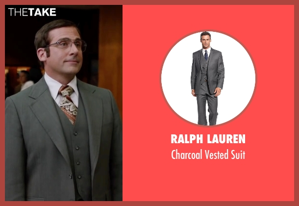 Ralph Lauren gray suit from Anchorman 2: The Legend Continues seen with Steve Carell (Brick Tamland)