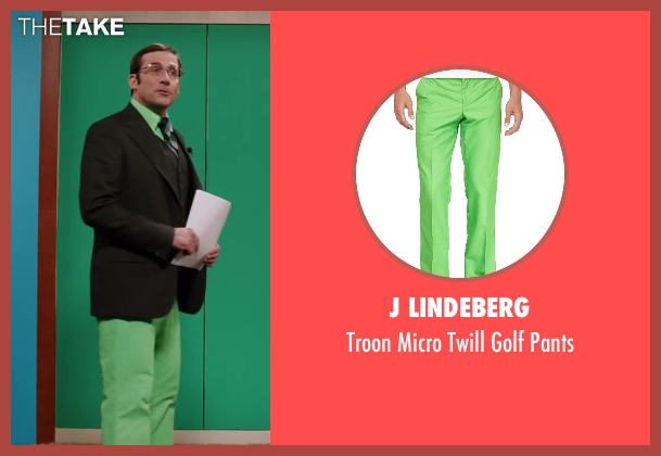 J Lindeberg green pants from Anchorman 2: The Legend Continues seen with Steve Carell (Brick Tamland)