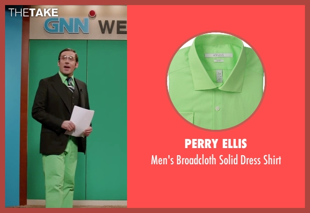 Perry Ellis green shirt from Anchorman 2: The Legend Continues seen with Steve Carell (Brick Tamland)