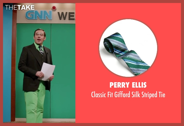 Perry Ellis green tie from Anchorman 2: The Legend Continues seen with Steve Carell (Brick Tamland)