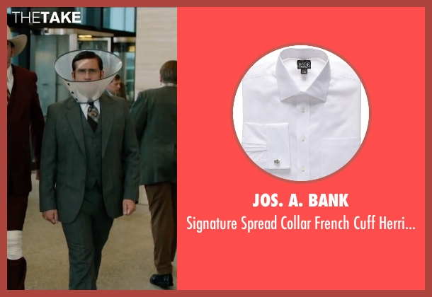Jos. A. Bank white herringbone from Anchorman 2: The Legend Continues seen with Steve Carell (Brick Tamland)