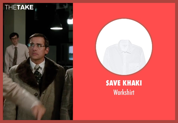 Save Khaki white workshirt from Anchorman 2: The Legend Continues seen with Steve Carell (Brick Tamland)