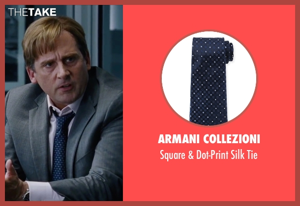 Armani Collezioni	 blue tie from The Big Short seen with Steve Carell (Mark Baum)