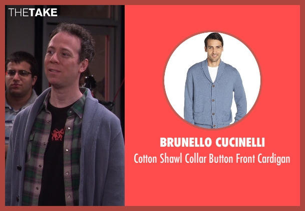 Brunello Cucinelli blue cardigan from The Big Bang Theory seen with Stuart Bloom (Kevin Sussman)