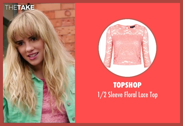 Topshop pink top from Love, Rosie seen with Suki Waterhouse (Bethany)