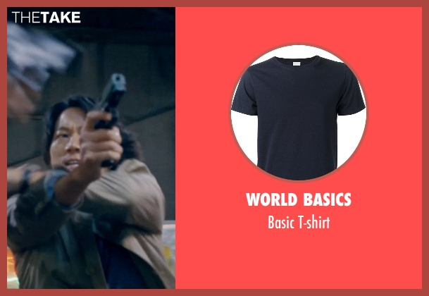 World Basics blue t-shirt from Fast & Furious 6 seen with Sung Kang (Han)