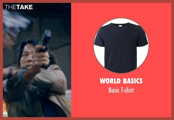 World Basics blue t-shirt from Fast & Furious 6 seen with Sung Kang (Han)