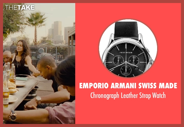 Emporio Armani Swiss Made black watch from Furious 7 seen with Sung Kang (Han)