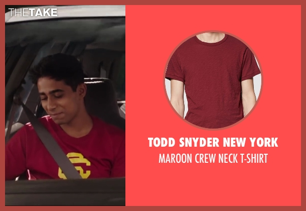 Todd Snyder New York red t-shirt from Million Dollar Arm seen with Suraj Sharma (Rinku)