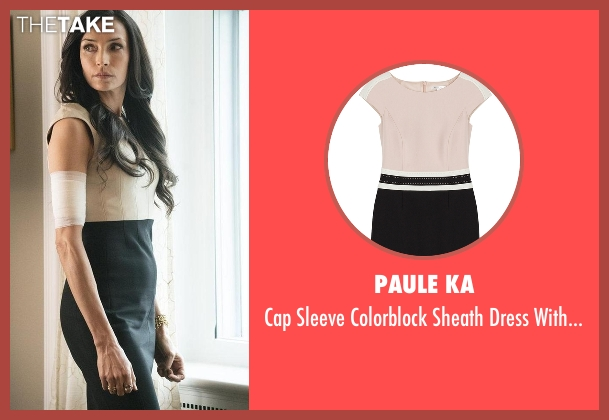 Paule Ka beige trim from The Blacklist seen with Susan Hargrave (Famke Janssen)
