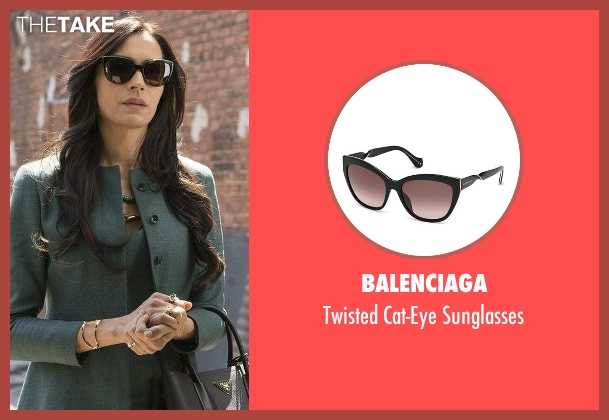 Balenciaga black sunglasses from The Blacklist seen with Susan Hargrave (Famke Janssen)