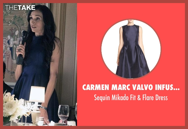 Carmen Marc Valvo Infusion blue dress from The Blacklist seen with Susan Hargrave (Famke Janssen)