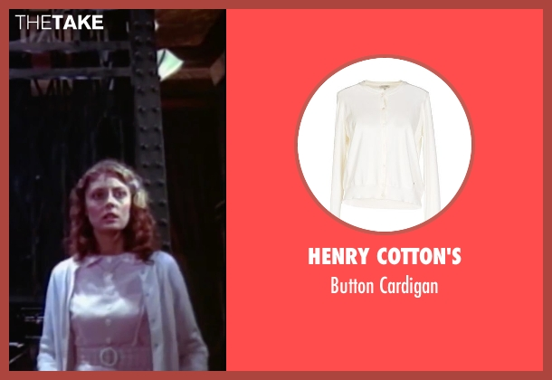 Henry Cotton's white cardigan from The Rocky Horror Picture Show seen with Susan Sarandon (Janet Weiss)