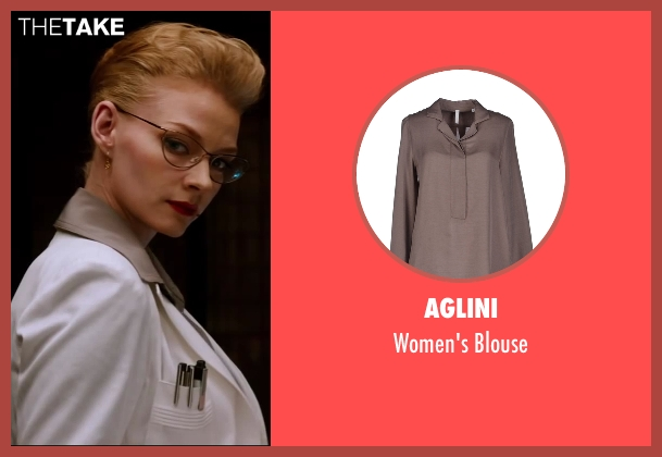 Aglini gray blouse from The Wolverine seen with Svetlana Khodchenkova (Viper)