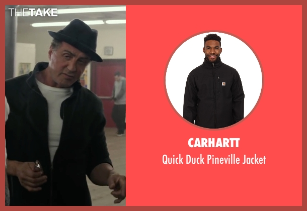 Carhartt black jacket from Creed seen with Sylvester Stallone (Rocky Balboa)