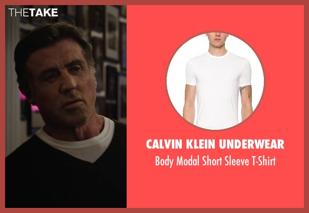 Calvin Klein Underwear white t-shirt from Creed seen with Sylvester Stallone (Rocky Balboa)