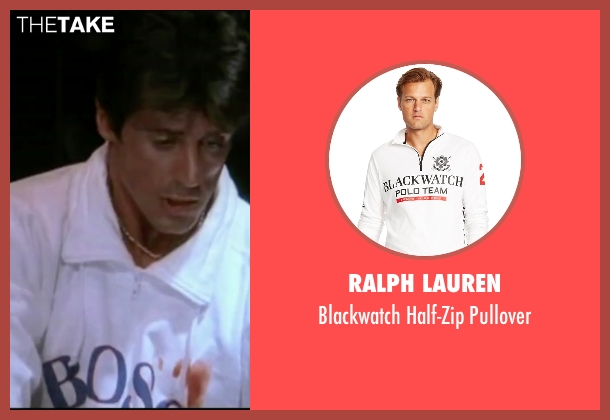 Ralph Lauren white pullover from Rocky IV seen with Sylvester Stallone (Rocky Balboa)