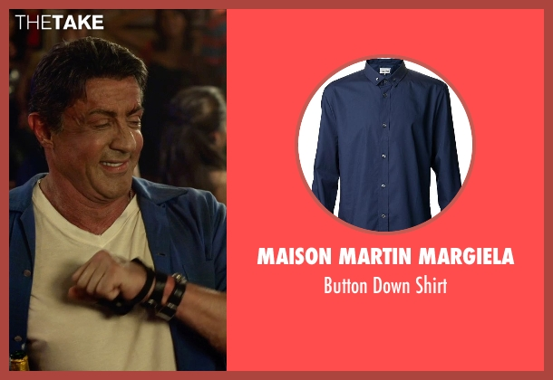 Maison Martin Margiela blue shirt from The Expendables 3 seen with Sylvester Stallone (Barney Ross)