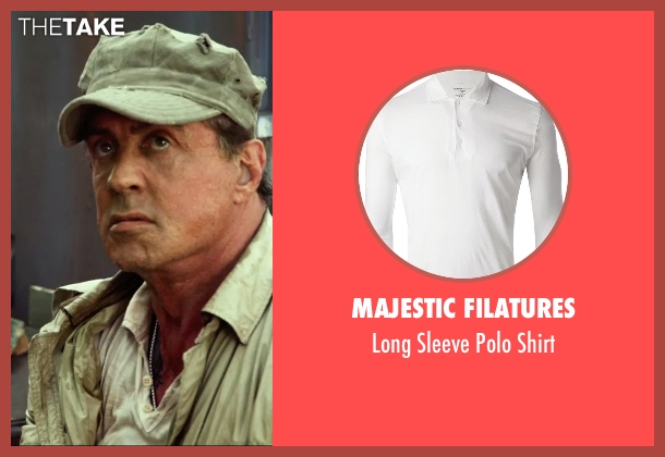 Majestic Filatures white shirt from The Expendables 3 seen with Sylvester Stallone (Barney Ross)
