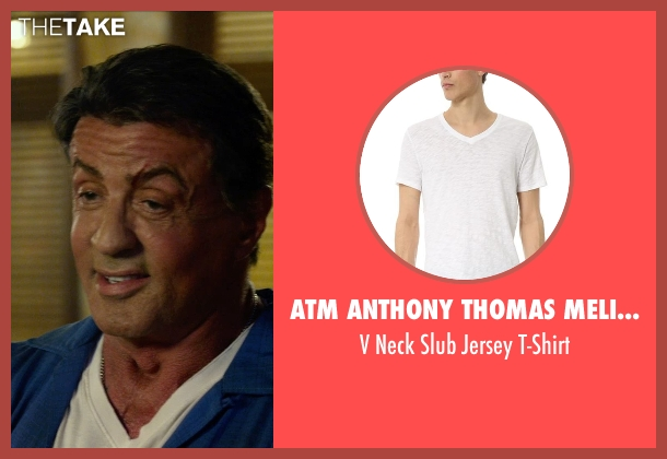 ATM Anthony Thomas Melillo white t-shirt from The Expendables 3 seen with Sylvester Stallone (Barney Ross)