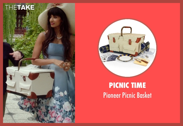Picnic Time basket from The Good Place seen with Tahani Al-Jamil (Jameela Jamil)