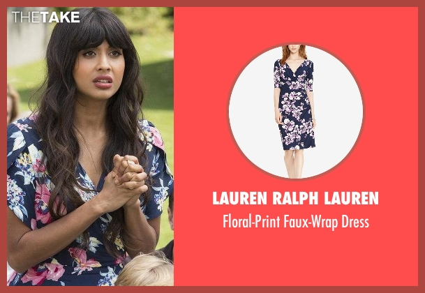 Lauren Ralph Lauren blue dress from The Good Place seen with Tahani Al-Jamil (Jameela Jamil)