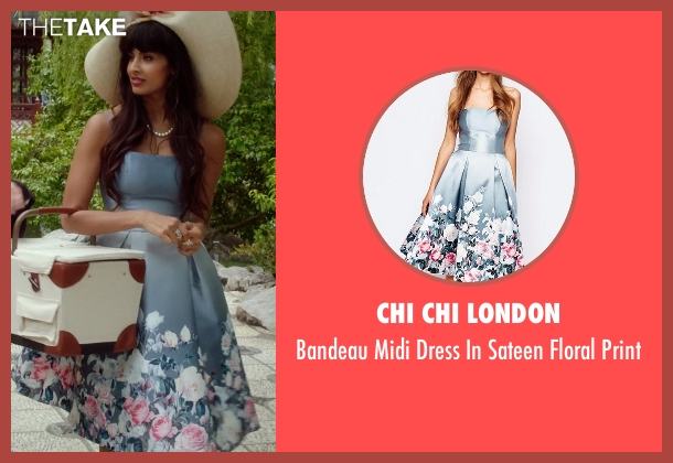 Chi Chi London blue print from The Good Place seen with Tahani Al-Jamil (Jameela Jamil)