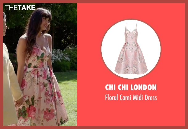 Chi Chi London pink dress from The Good Place seen with Tahani Al-Jamil (Jameela Jamil)