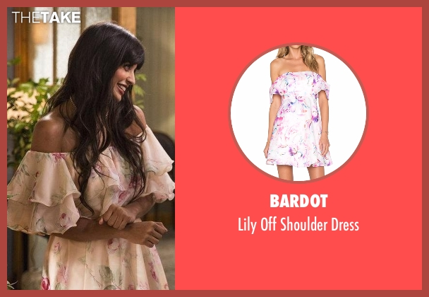 Bardot white dress from The Good Place seen with Tahani Al-Jamil (Jameela Jamil)