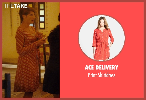 Ace Delivery orange shirtdress from The Second Best Exotic Marigold Hotel seen with Tamsin Greig (Lavinia Beech)