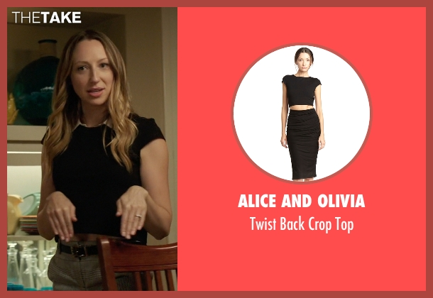 Alice And Olivia black top from Rosewood seen with Tara Milly Izikoff (Anna Konkle)