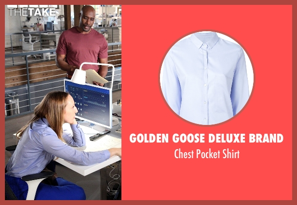 Golden Goose Deluxe Brand blue shirt from Rosewood seen with Tara Milly Izikoff (Anna Konkle)