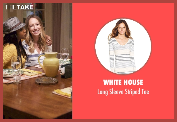 White House white tee from Rosewood seen with Tara Milly Izikoff (Anna Konkle)