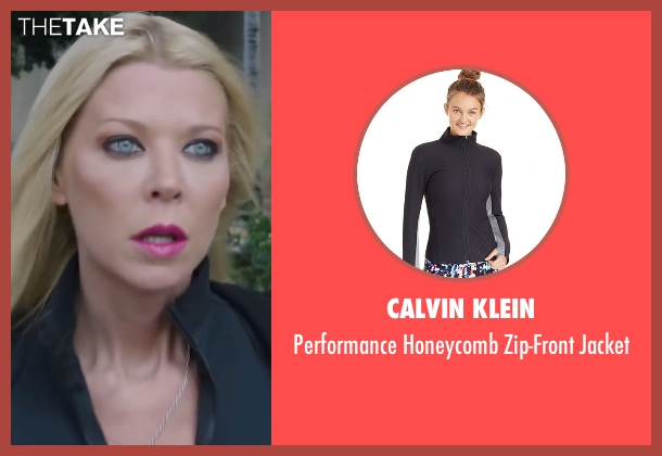 Calvin Klein black jacket from Sharknado 4: The Fourth Awakens seen with Tara Reid (April Shepard)