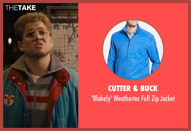 Cutter & Buck blue jacket from Eddie The Eagle seen with Taron Egerton (Eddie Edwards)