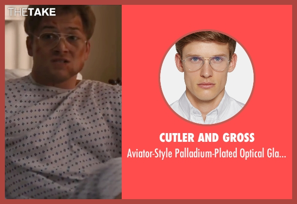 Cutler And Gross gold glasses from Eddie The Eagle seen with Taron Egerton (Eddie Edwards)
